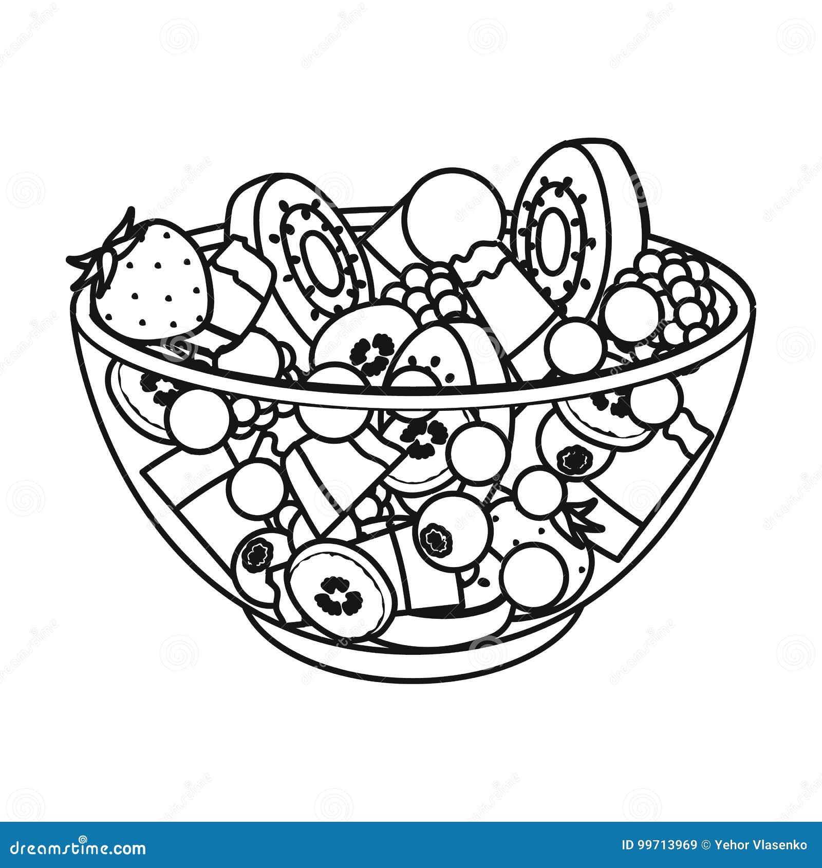 Salade de divers genres de fruit Icône simple de fruit en Web d illustration d actions de symbole de vecteur de style d ensemble
