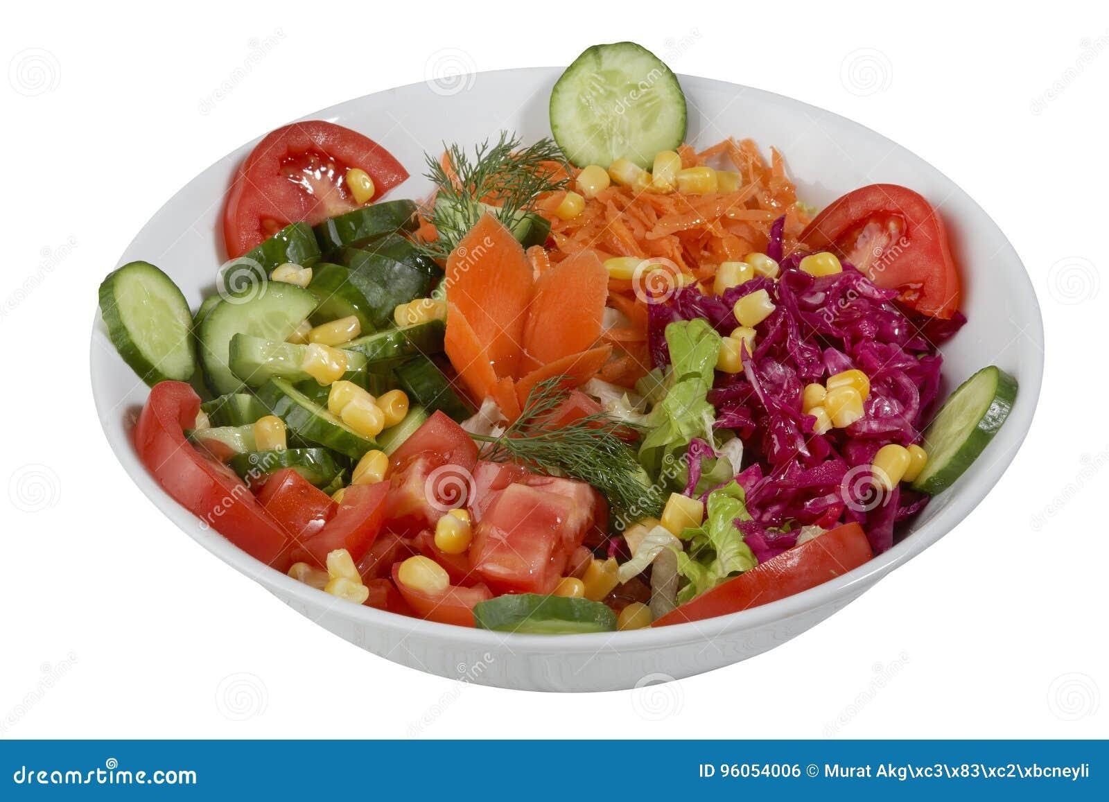 Salade de légume frais d isolement sur un fond blanc