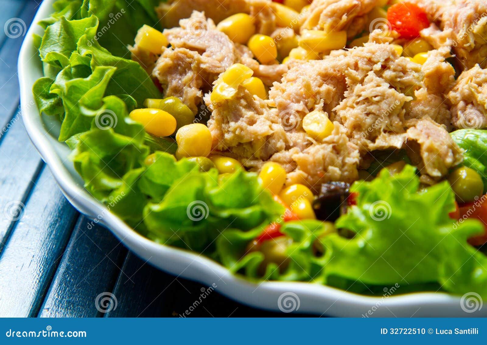 salade de thon avec des mais sur le plat blanc de coquille photo stock image 32722510. Black Bedroom Furniture Sets. Home Design Ideas