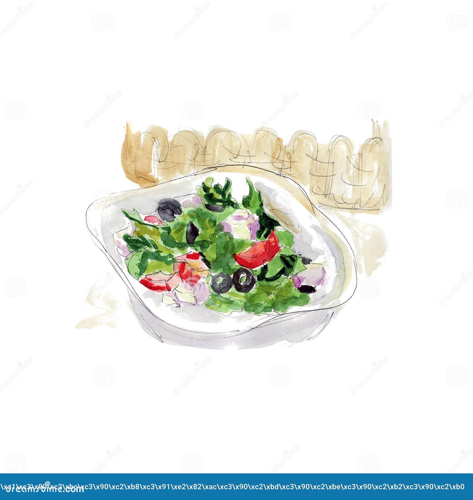 Salade fraîche avec du fromage, des olives et des légumes, croquis d aquarelle de nourriture appétissante