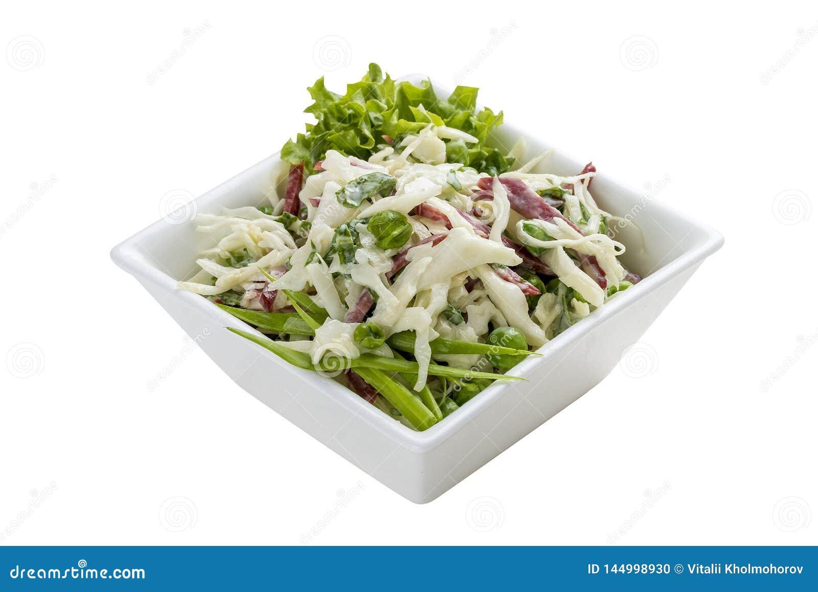 Salade met kool, ham en greens