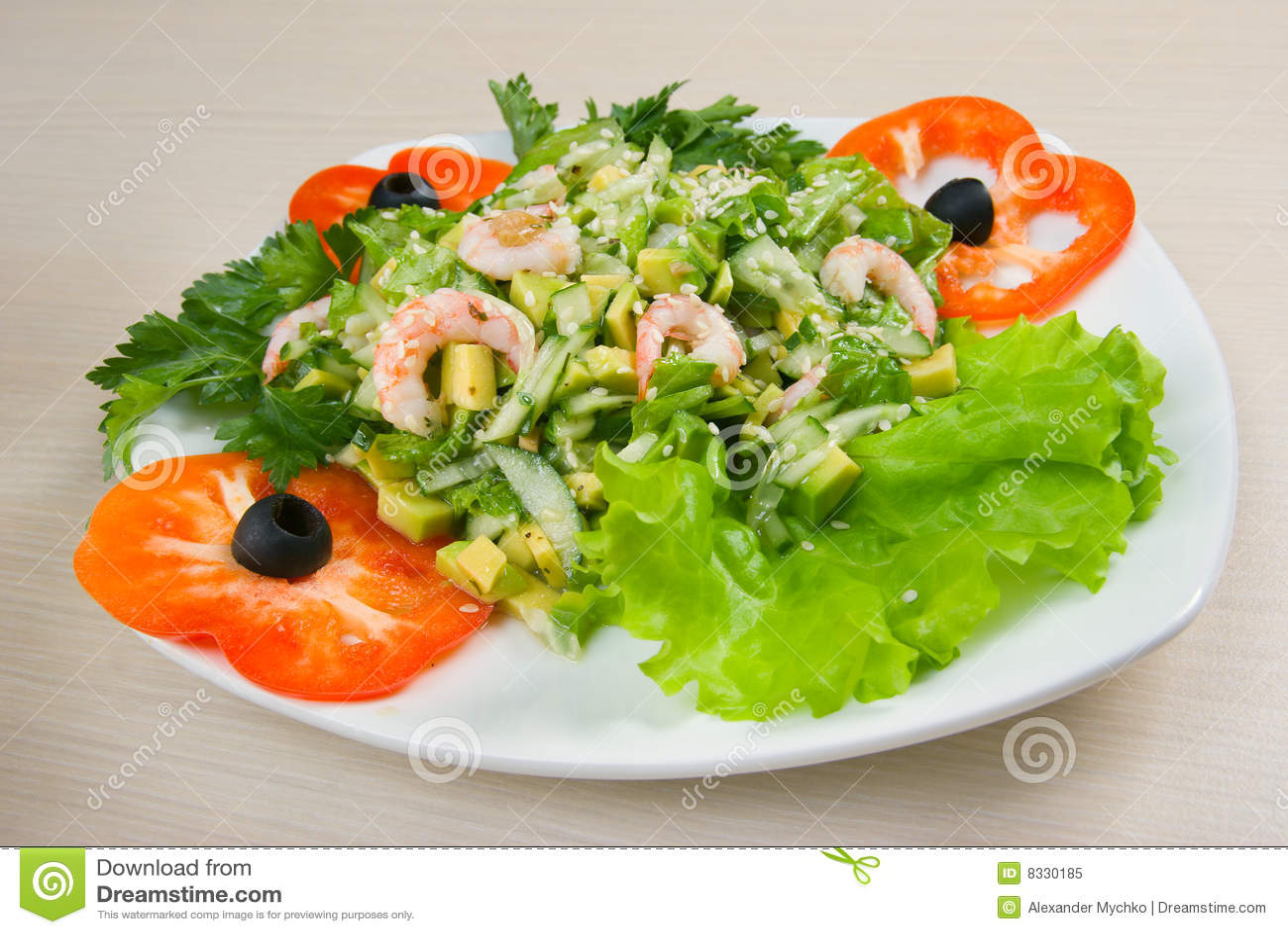 Salade simple et saine de crevette photo libre de droits - Cuisine saine et simple ...