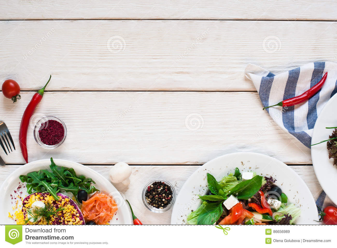 Salads frame on white wooden table flat lay stock image for Cuisine wooden