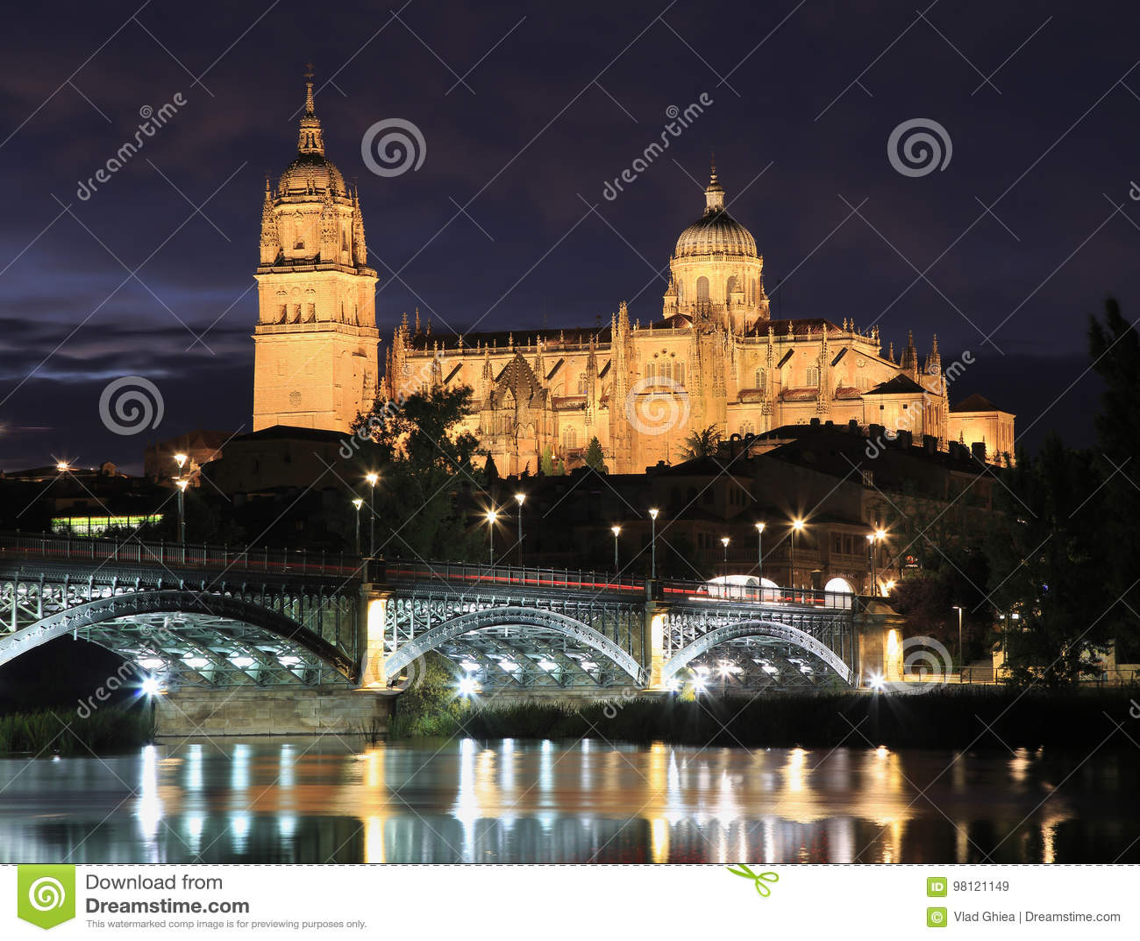 Salamanca skyline at night in Enrique Estevan bridge over Tormes River