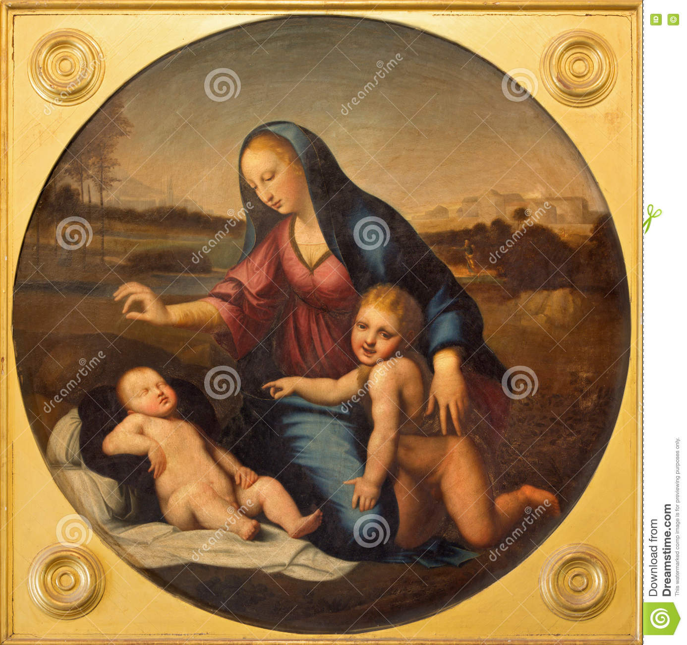 Salamanca Spain April 18 2016 The Painting Of Madonna With The Child And St John The Baptist In Convento De Las Duanas Stock Photo Image Of Catedral Convento 79164358