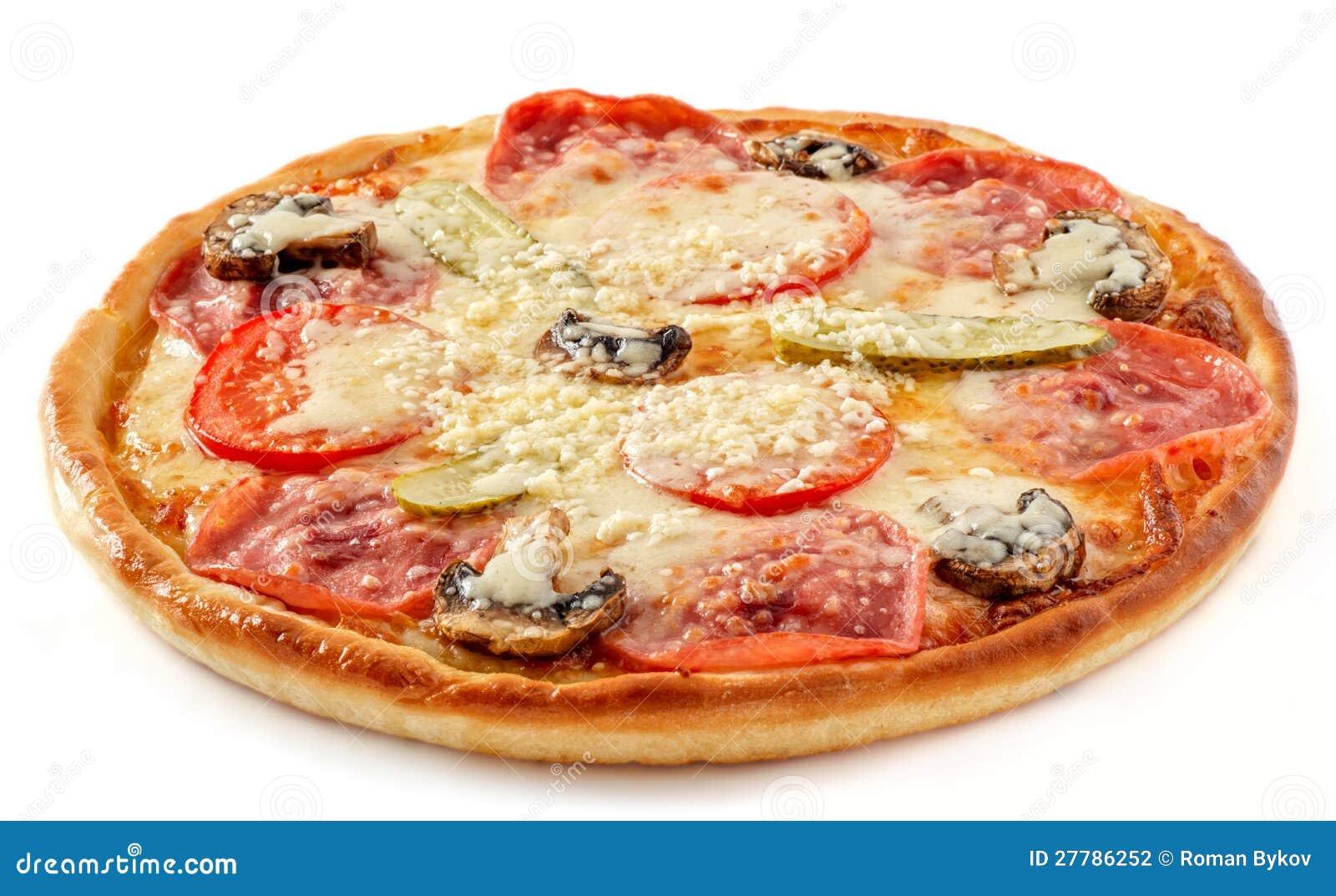Salami e pizza dos cogumelos com salmouras