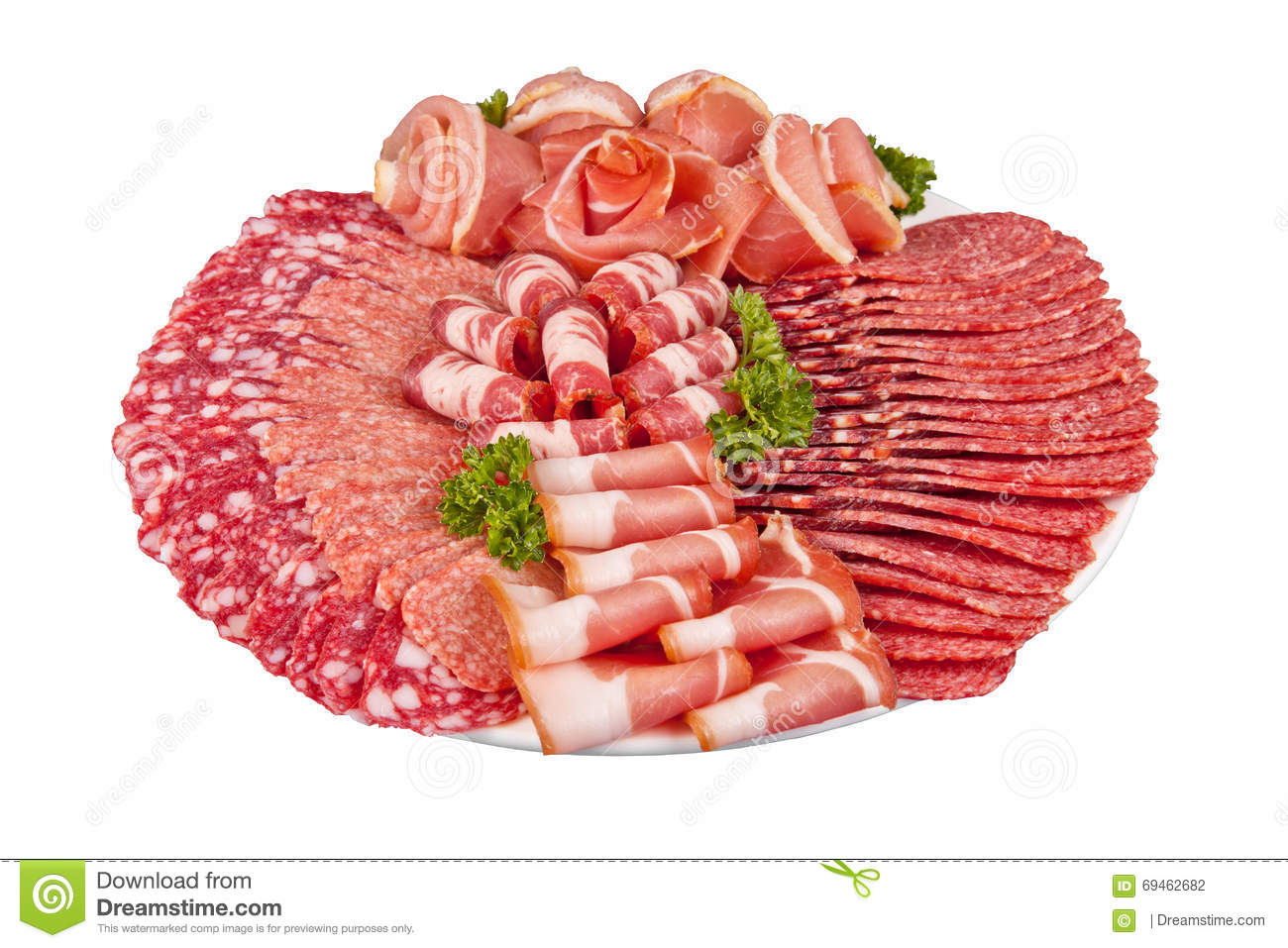 Salami ham meat and more on the plate