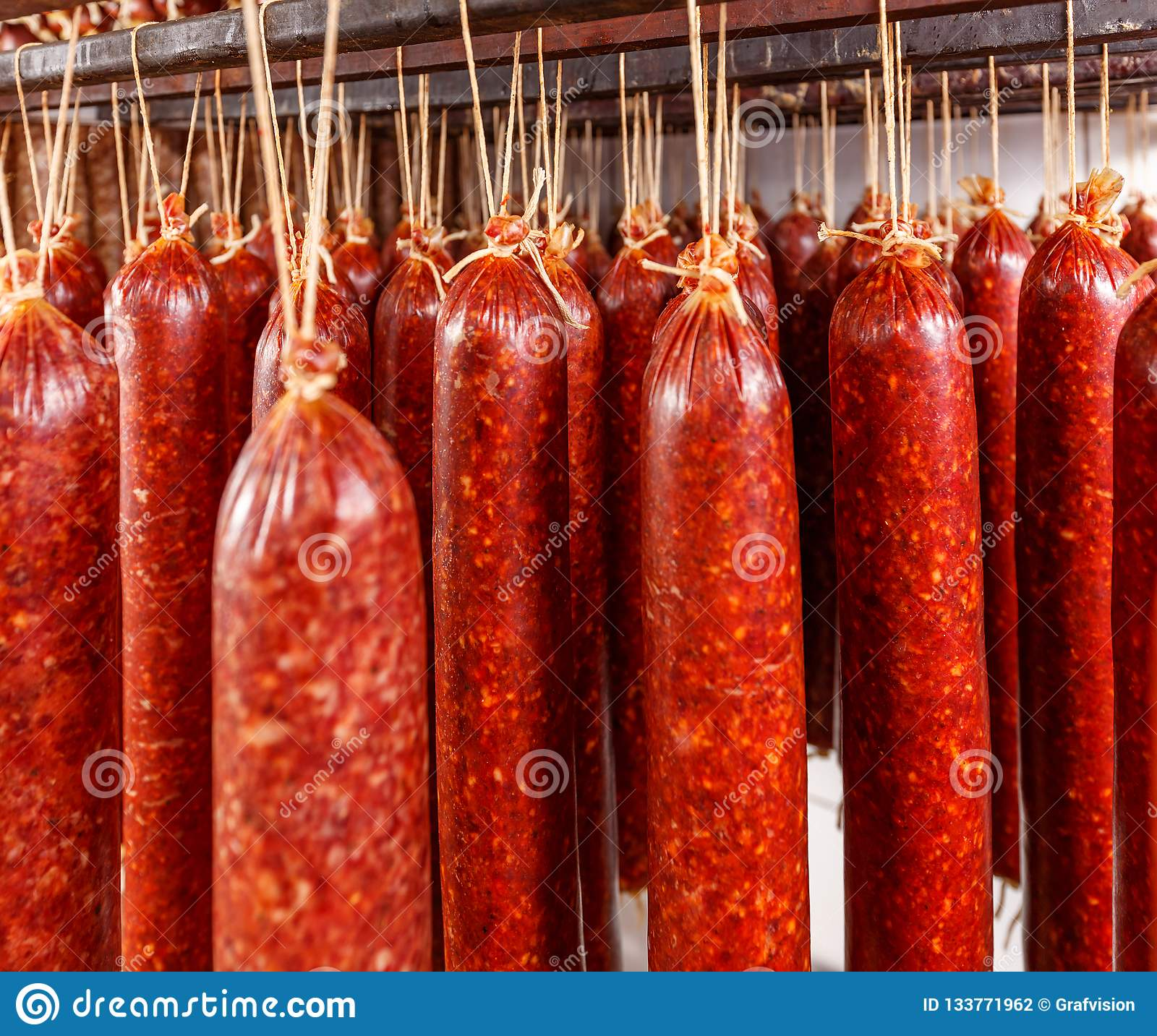 Salami hanging on a rope
