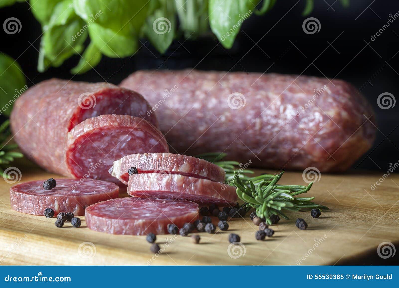 Salami Sliced on Wood Board