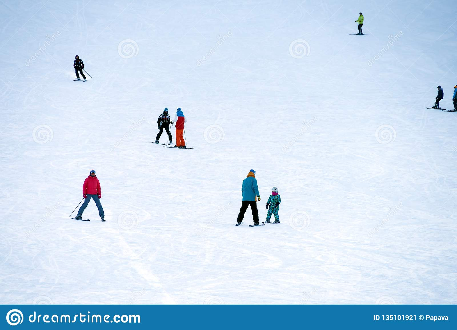 People skiing on the mountainside at the weekend