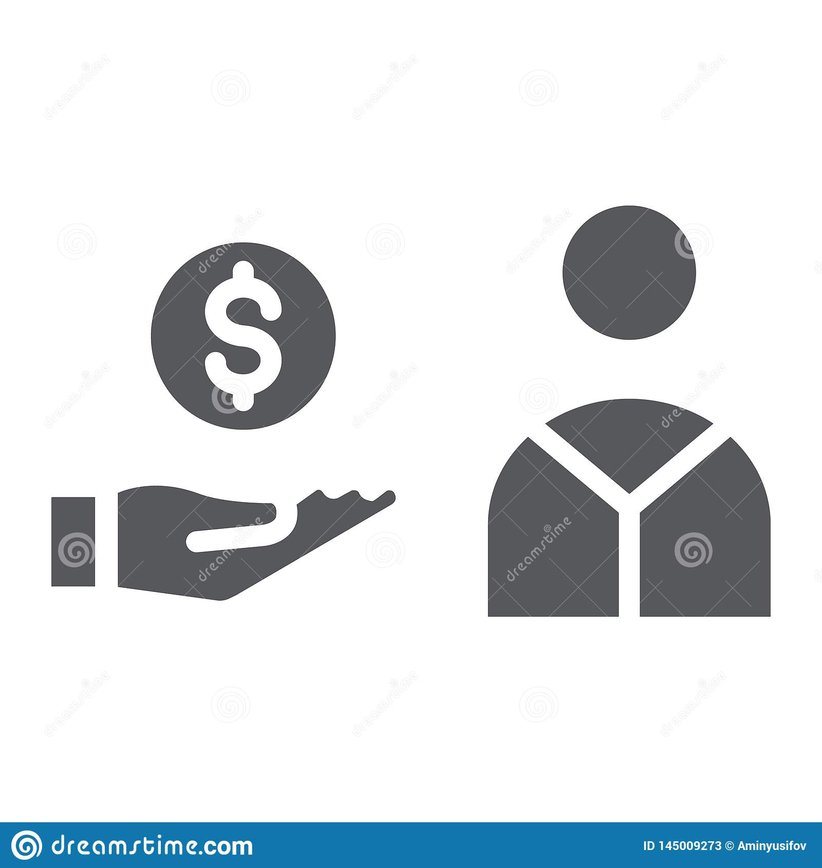 Salary glyph icon, finance and payment, hand with coin sign, vector graphics, a solid pattern on a white background.