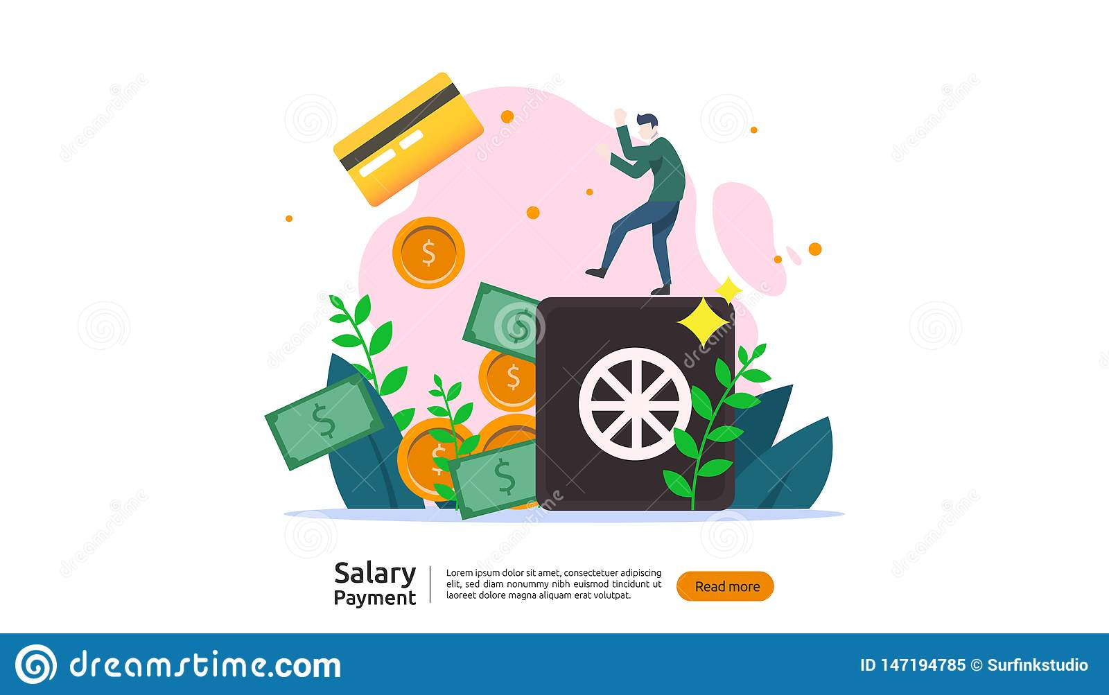 salary payment concept  payroll  annual bonus  income