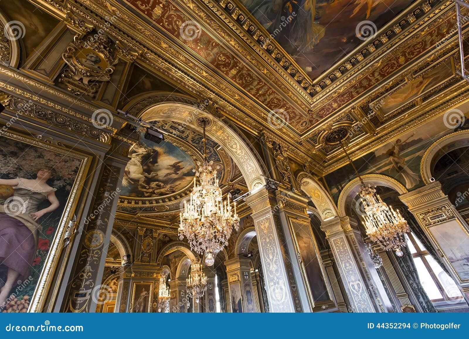 Salas de recepción del ayuntamiento, París, Francia