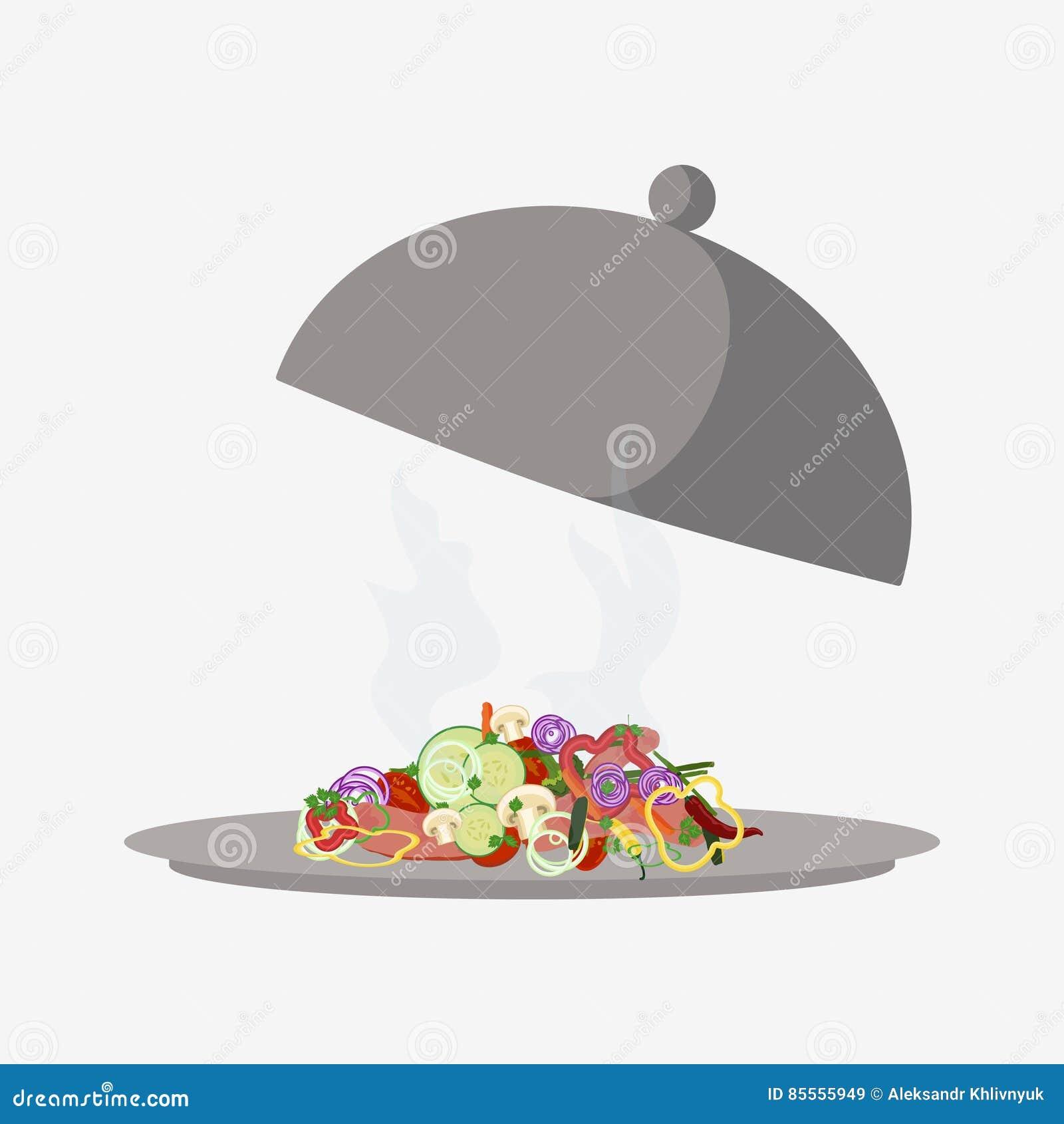 Salat auf Glasglocke