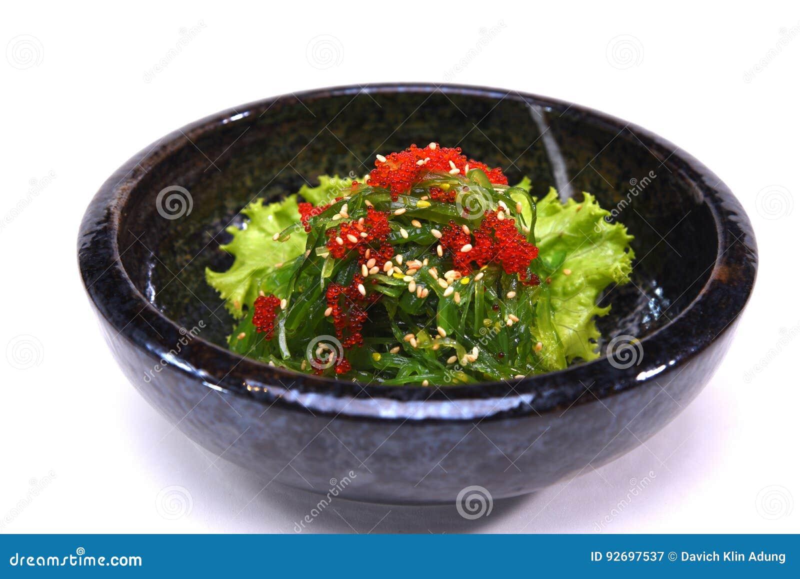 Salat Hiyashi Wakame Chuka Der Meerespflanze Mit Indischem Sesam