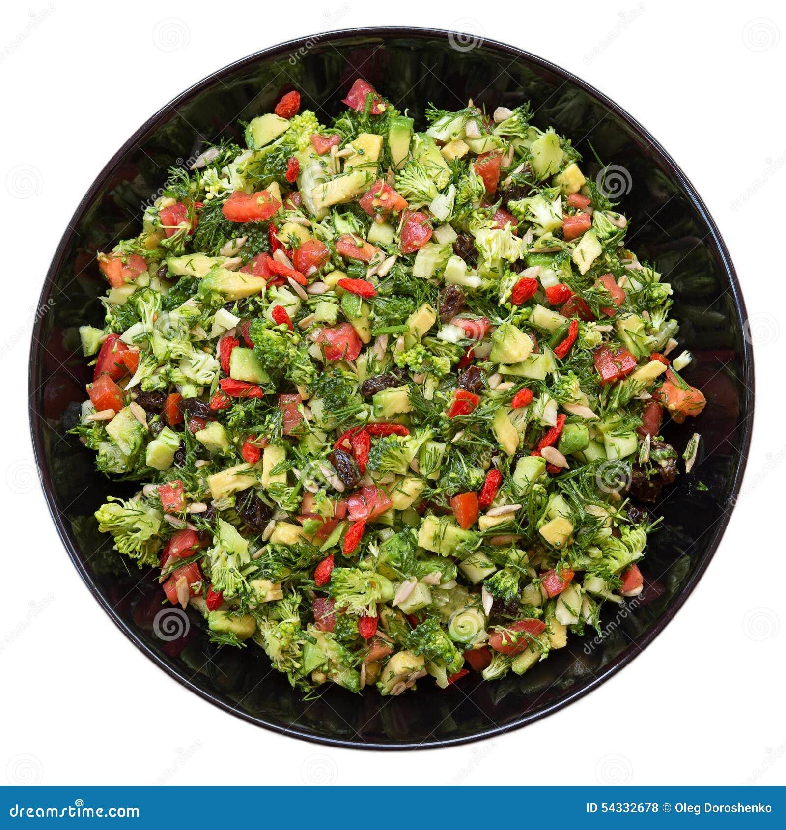 salat mit brokkoli roter pfeffer avocado dill rosinen sonnenblumensamen stockfoto bild. Black Bedroom Furniture Sets. Home Design Ideas