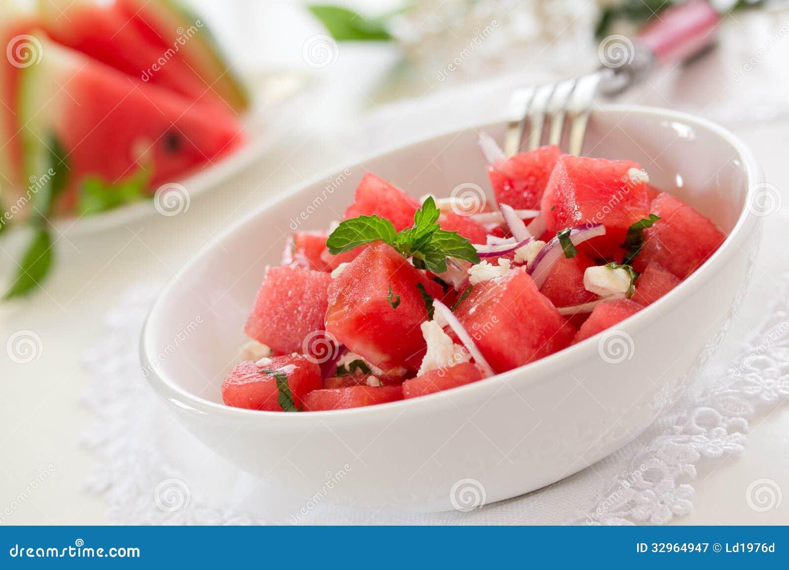 salat mit wassermelone lizenzfreie stockfotografie bild 32964947. Black Bedroom Furniture Sets. Home Design Ideas