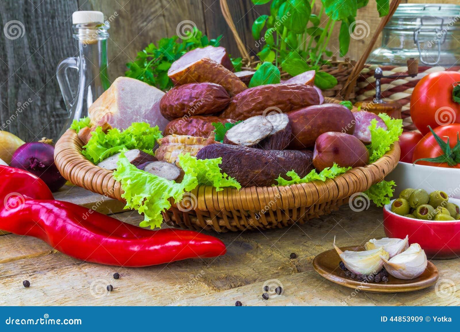 Salchichas de las carnes de variedad de la composición