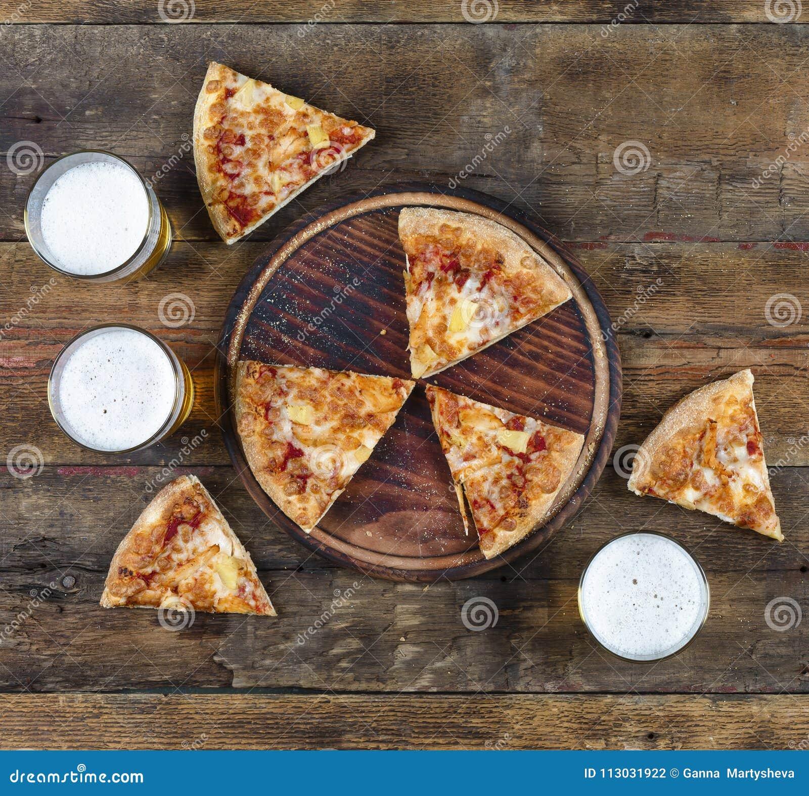 Salchichones, pizza, italiano, cerveza, comida, sabrosa, comida, vidrio, delic
