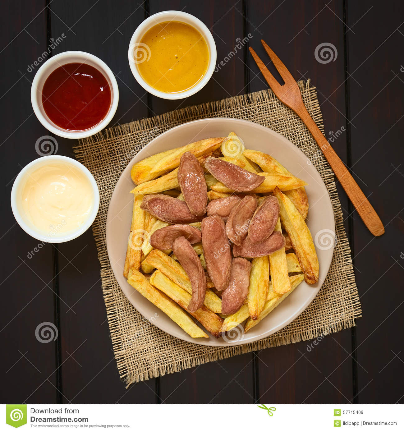 Salchipapas south american fast food stock photo image for American traditional cuisine