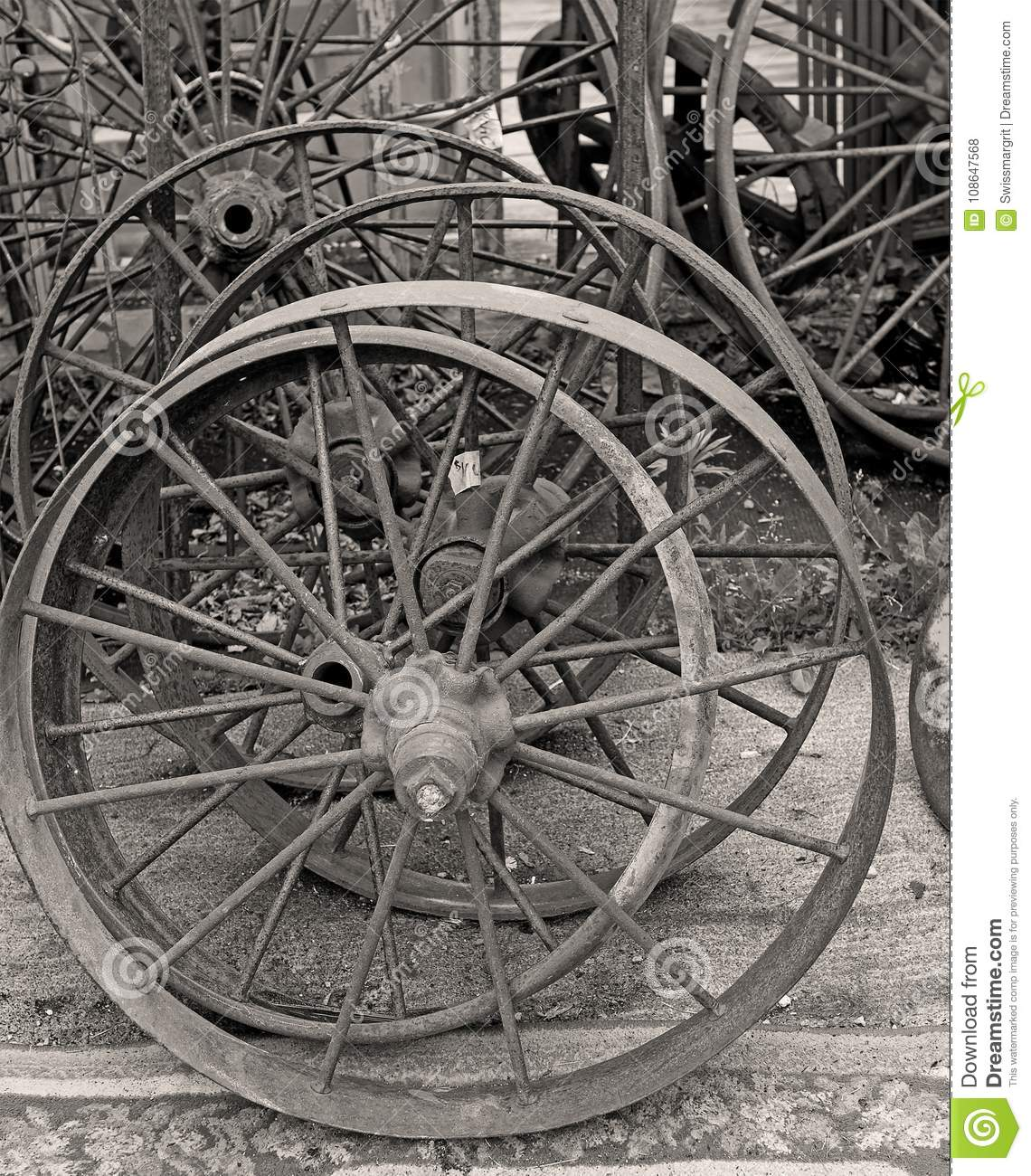 Old Metal Wagon Wheel For Sale At The Antique Market Stock