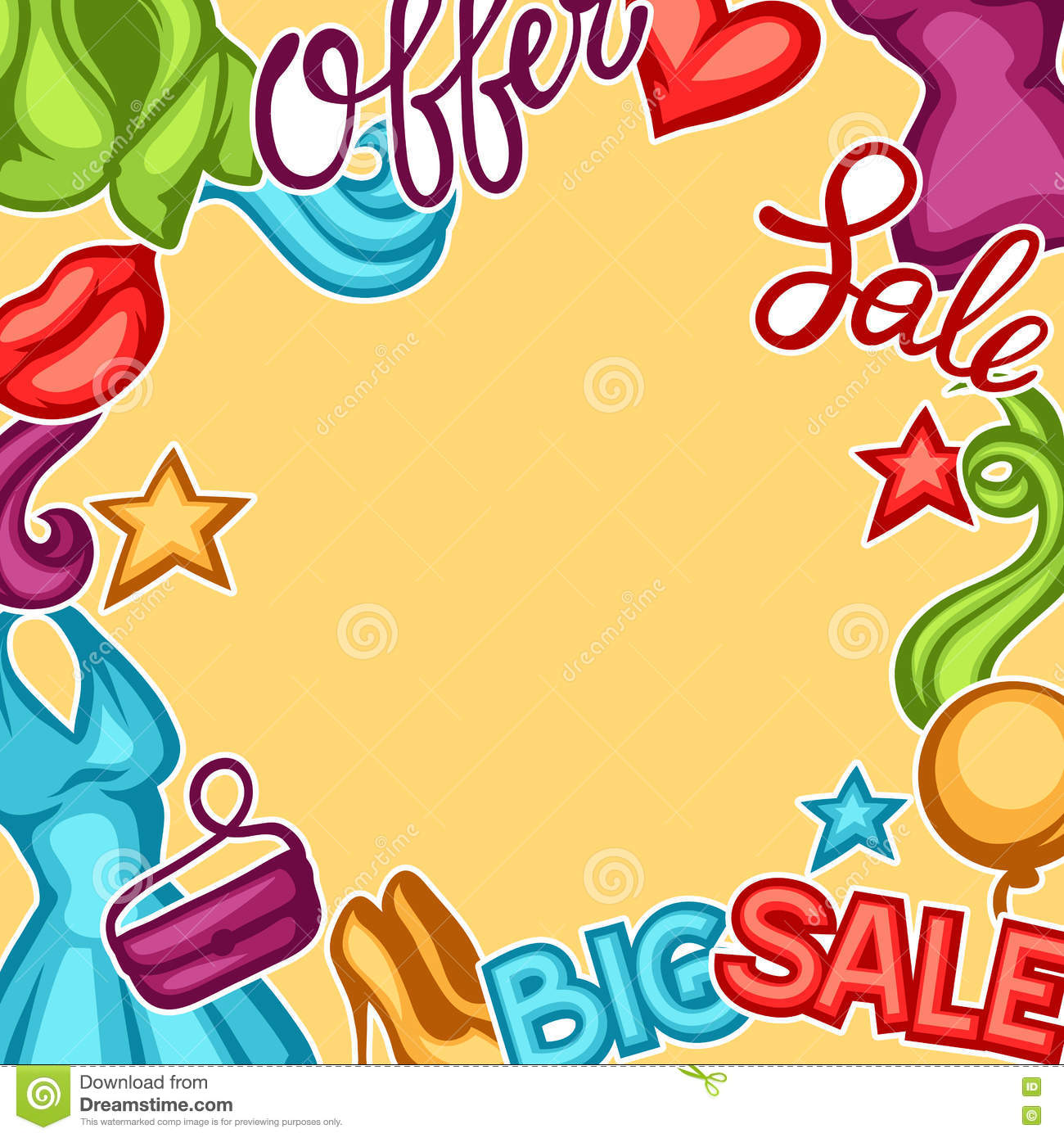7f78d0a11 Sale Background With Female Clothing And Accessories Stock Vector ...