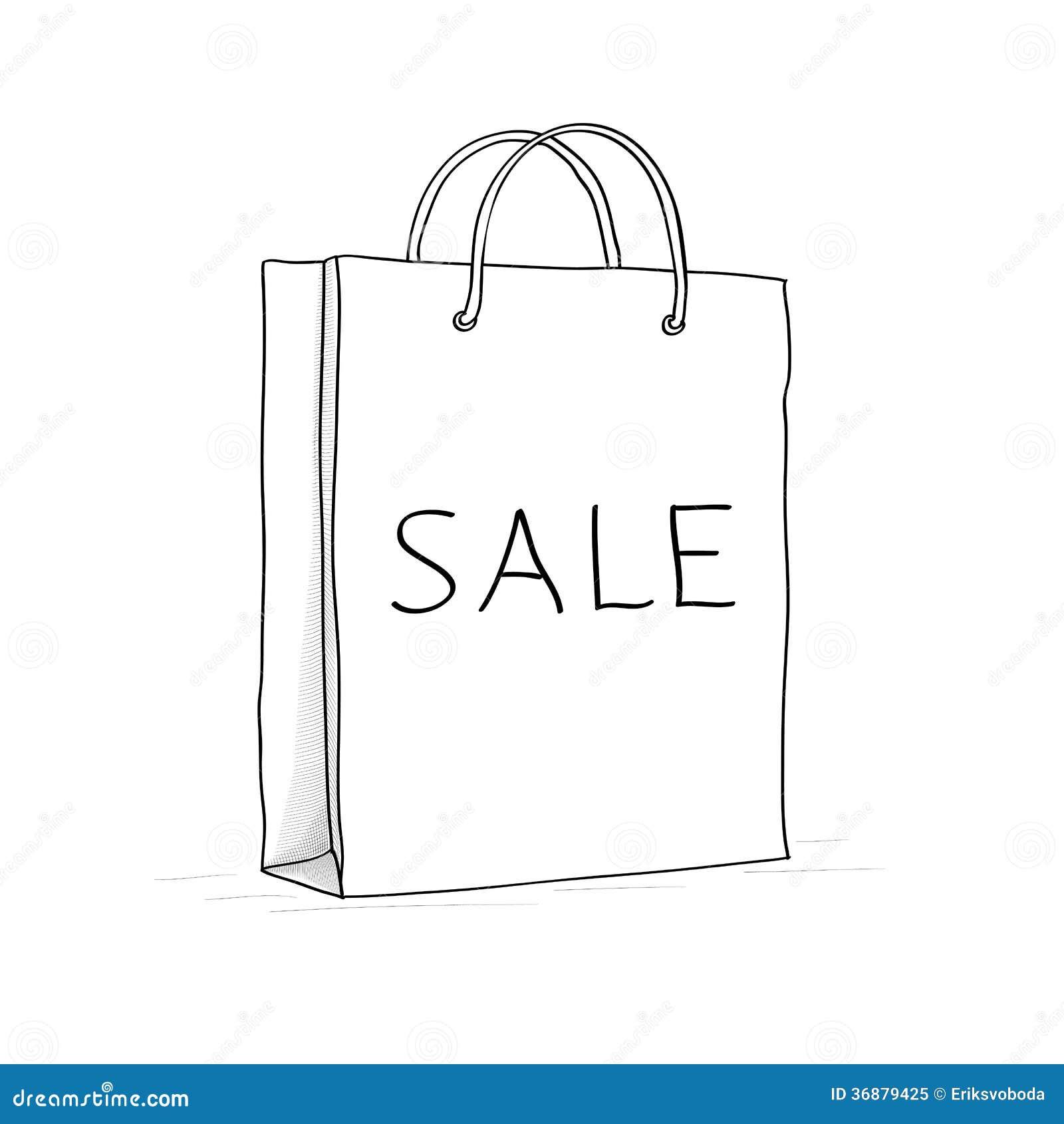 Paper bag sketch - Sale Bag Icon Sketch Vector Illustration In