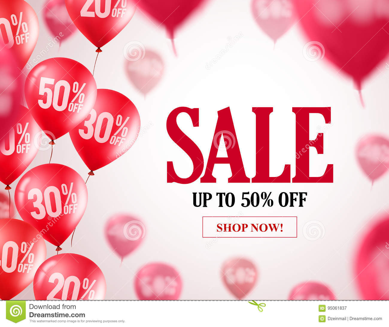 Sale balloons vector banner design. Flying red balloons with 50  off
