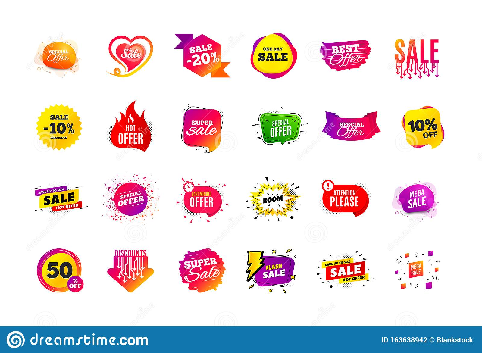 Sale Banner Badge Special Offer Discount Tags Coupon Shape Templates Best Offer Badge Super Discount Icons Vector Stock Vector Illustration Of Discounts Coupon 163638942