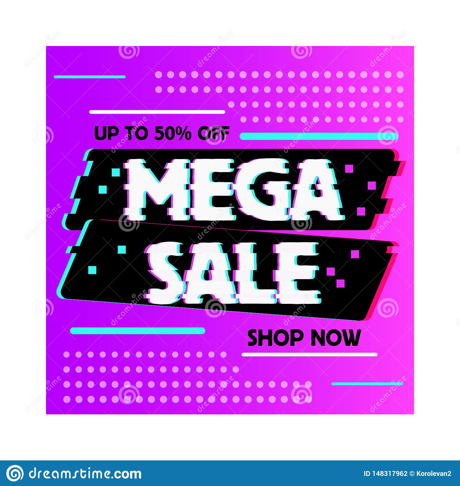 Sale banner glitch effect template design