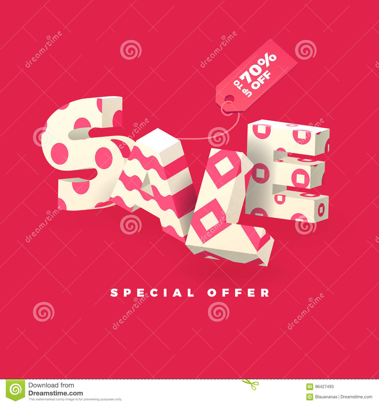 Sale Banner In Pink Color, 3D Invert Letters With Pattern Stock ...