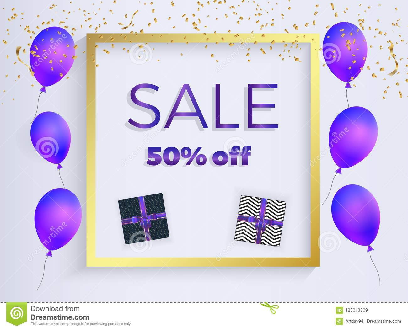 Sale banner with purple shaped balloons, box gift with ribbons, gold confetti. Template for the decoration presentation, placards,