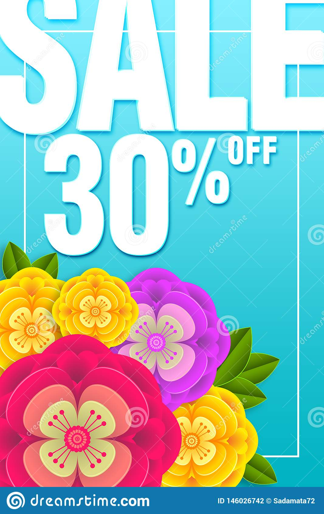 Sale Banner Special offer 30  Off Background with beautiful flower illustration template