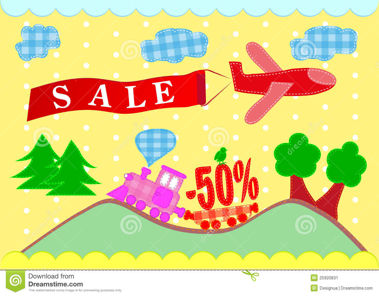 Sale Banners. Plane And Train Stock Image - Image: 25920831