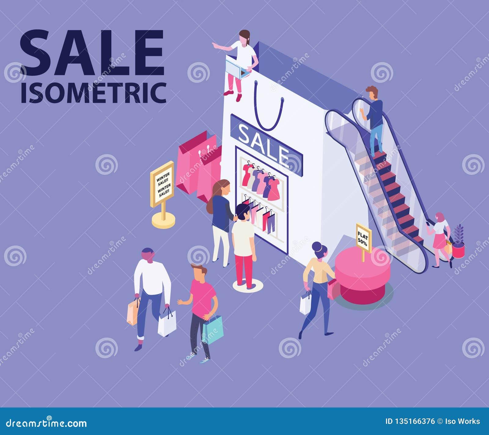 Sale beklär isometriskt konstverk av folkshoppingmode/från en shoppa påse