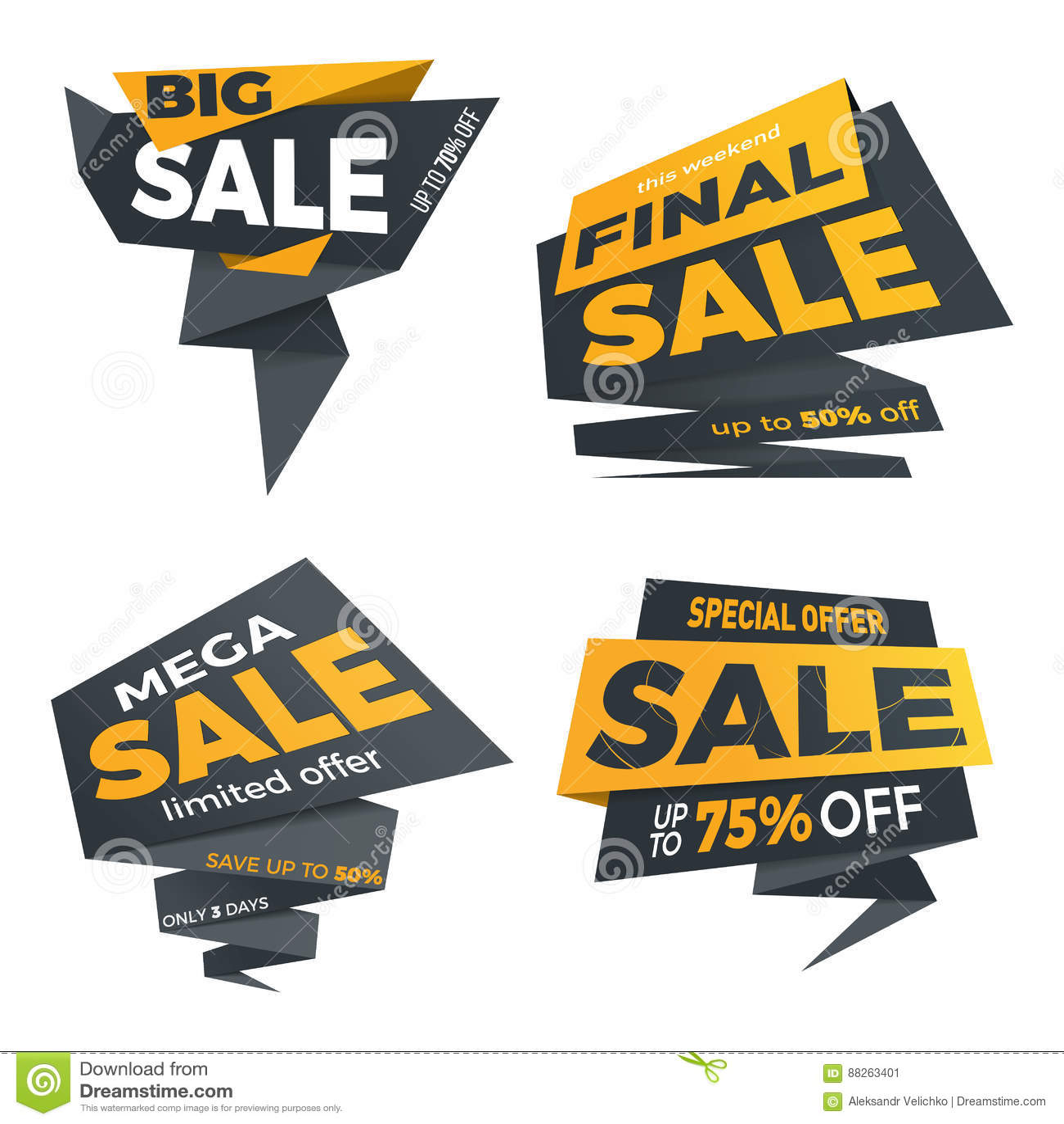 Sale Black Color Label Price Tag Banner Badge Template