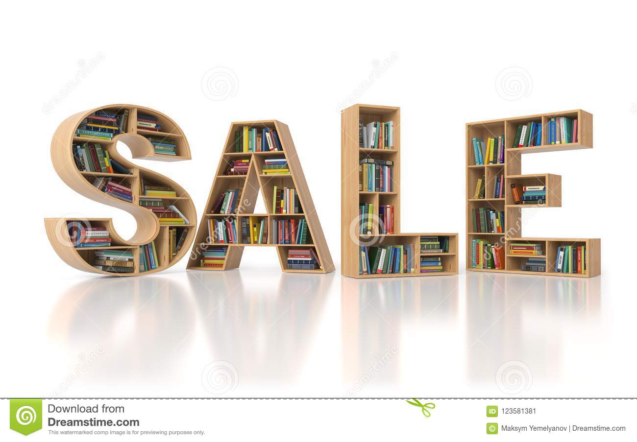 Sale From Bookshelf With Book In Form Of Letters Isolated On Whi