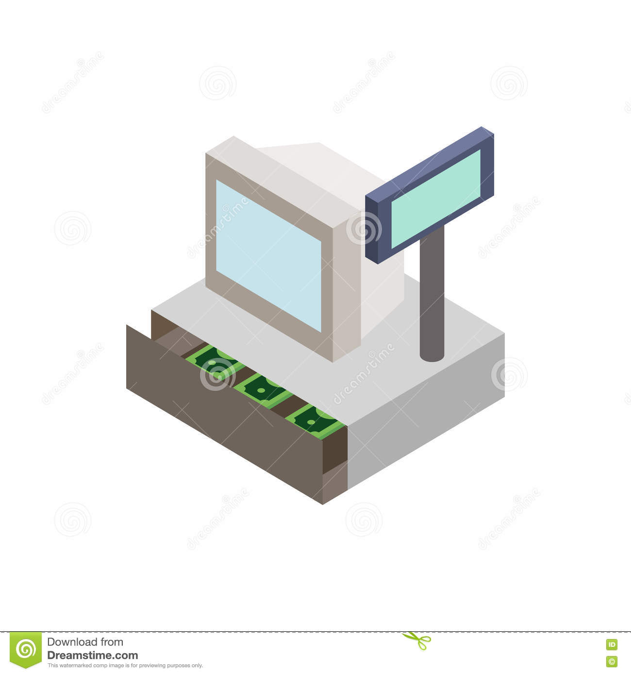 Sale cash register with cash drawer icon