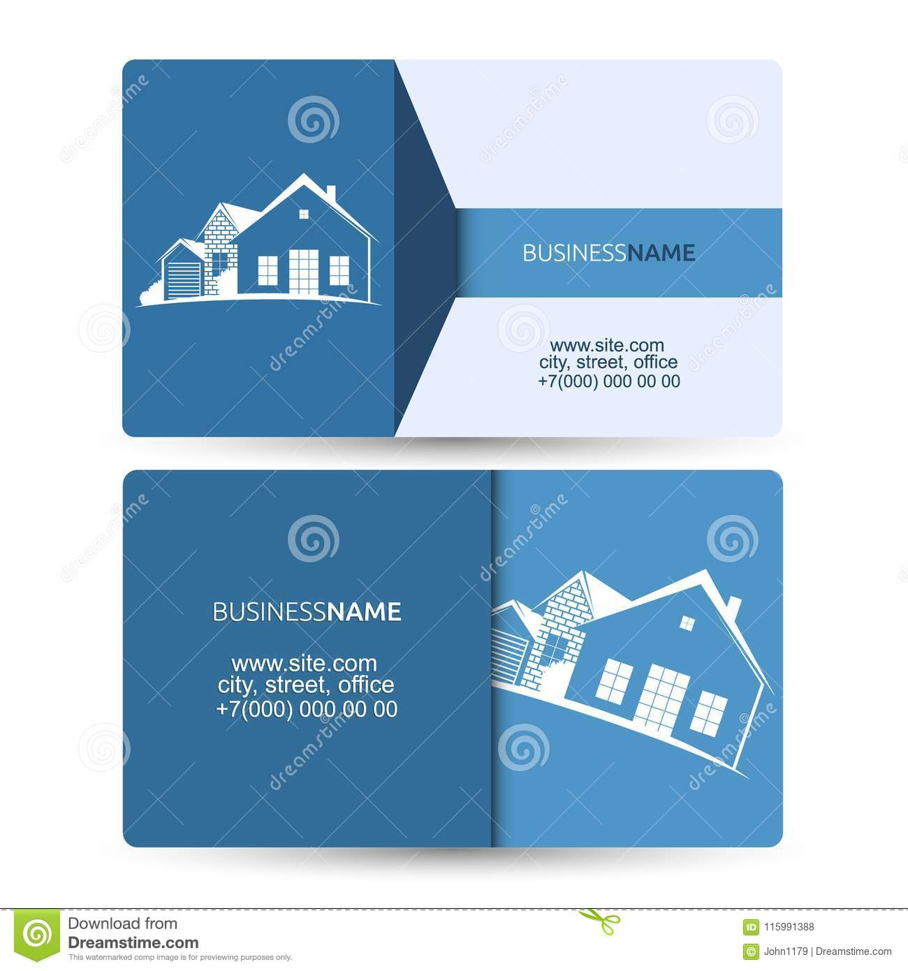 Sale And Construction Of Housing Business Card Stock Vector Illustration Of Estate Property 115991388