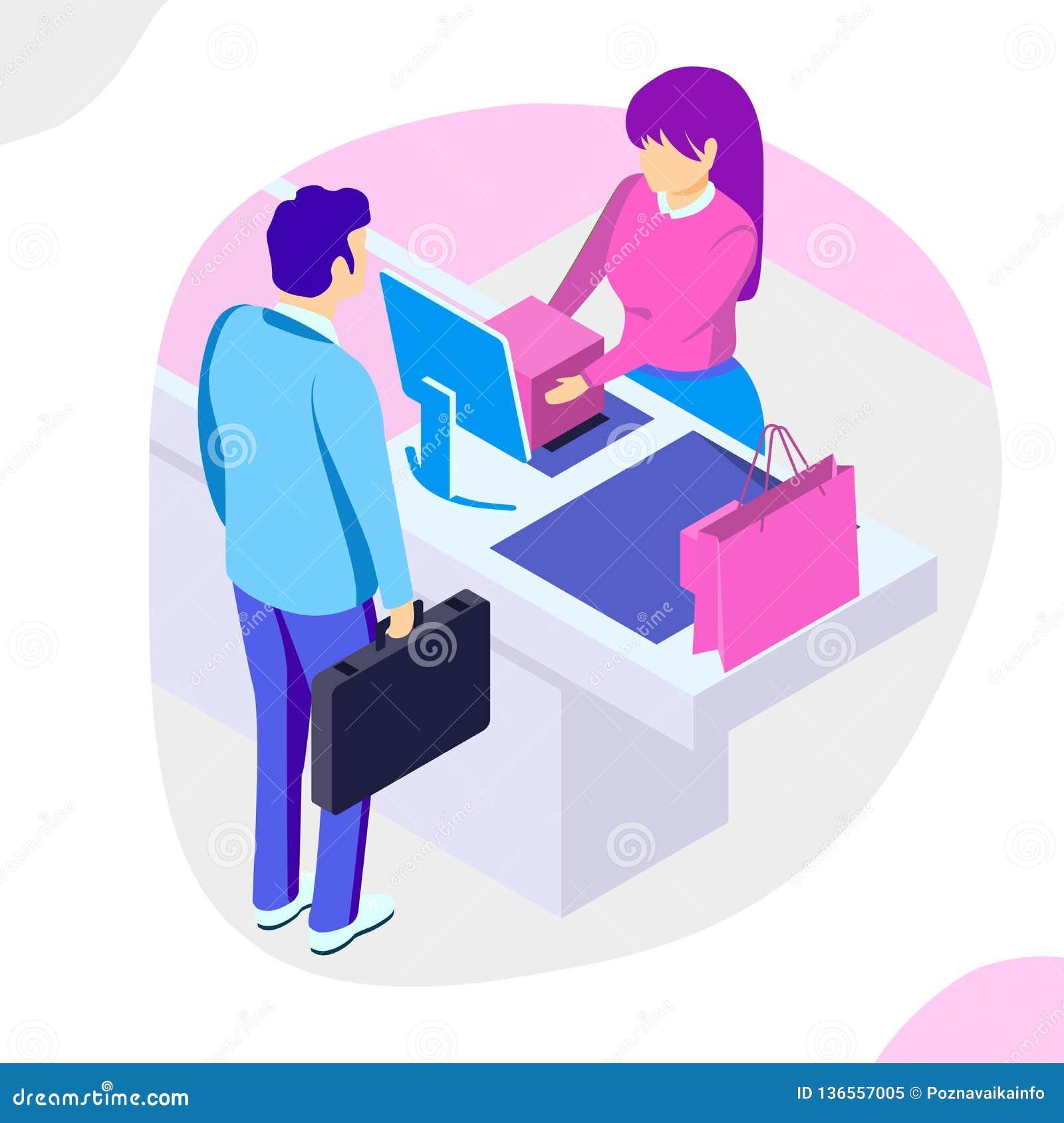 Sale, consumerism och folkbegrepp Mannen shoppar den online-användande smartphonen Landa sidamallen isometrisk illustration f?r v