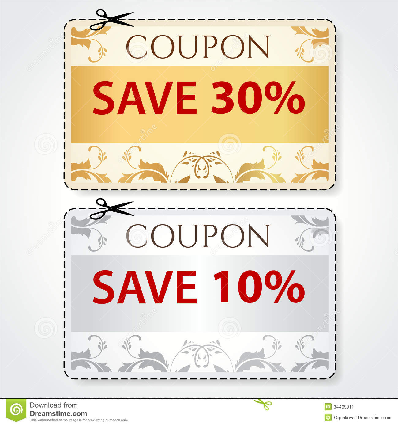 Sale Coupon, Tag. Cut Off Template, Gold Pattern Stock Vector ...