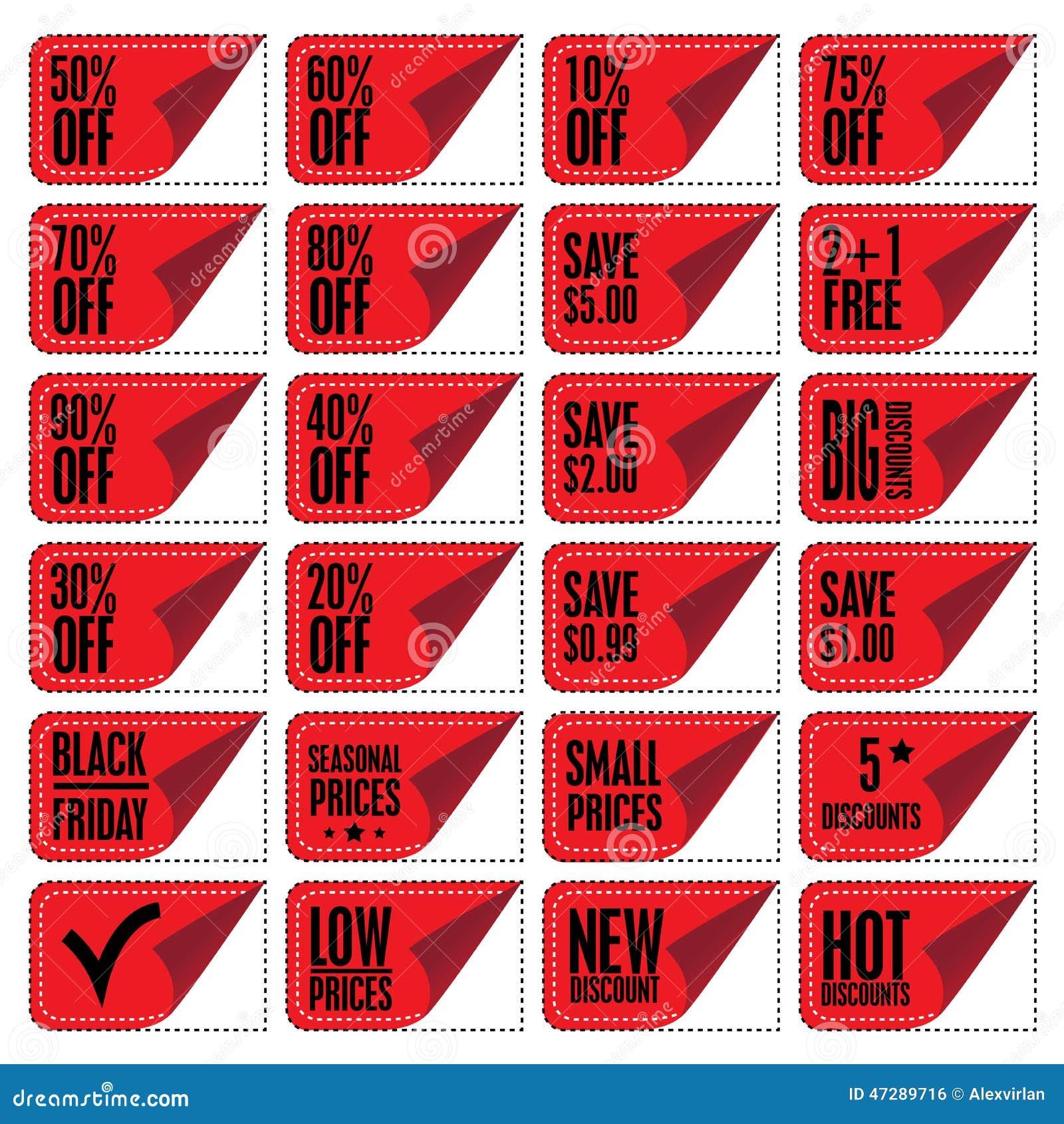 Sale coupons stock vector image 47289716 - Houseplanscom discount code set ...