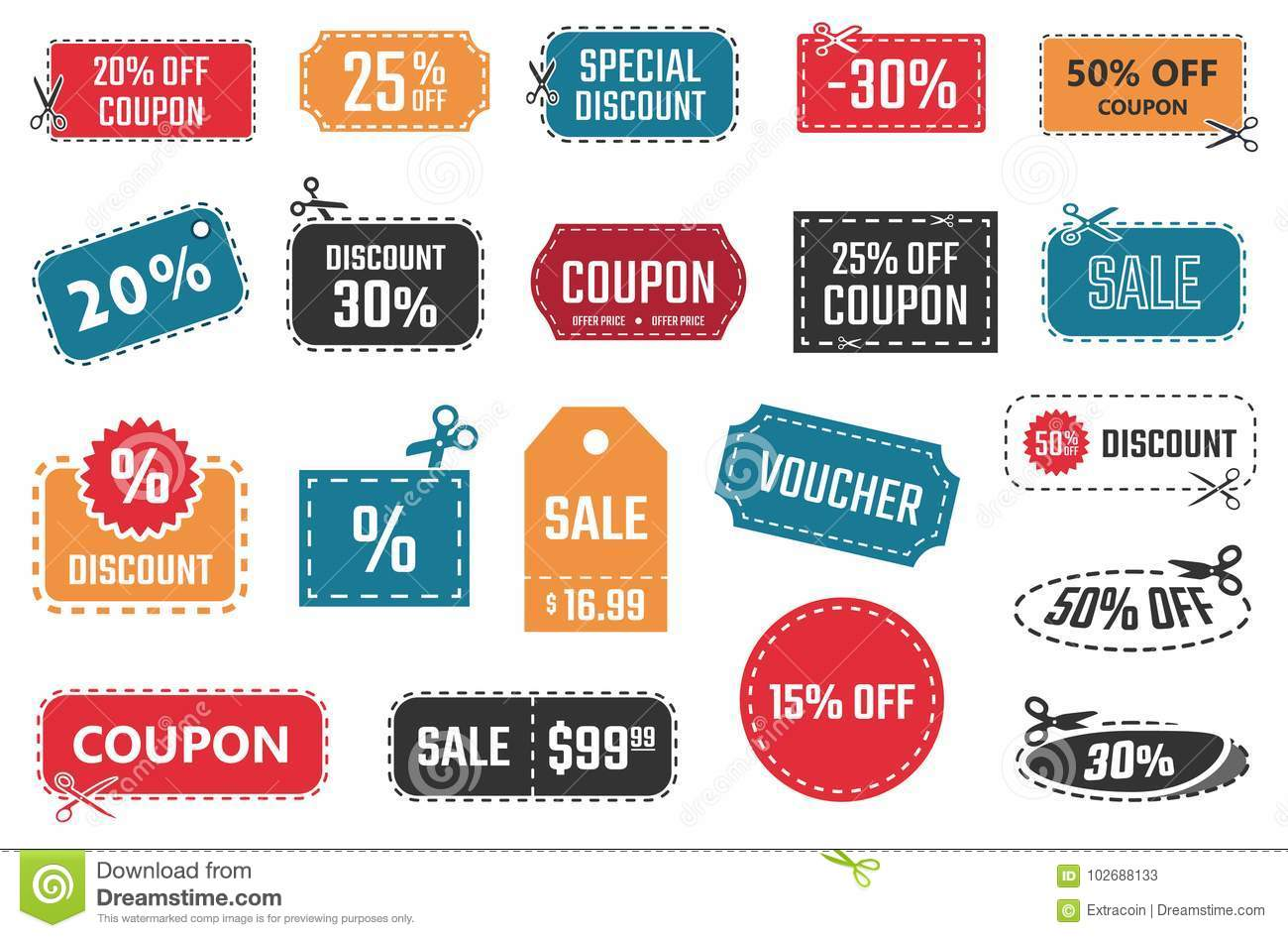 sale coupons discount banners and labels set stock vector