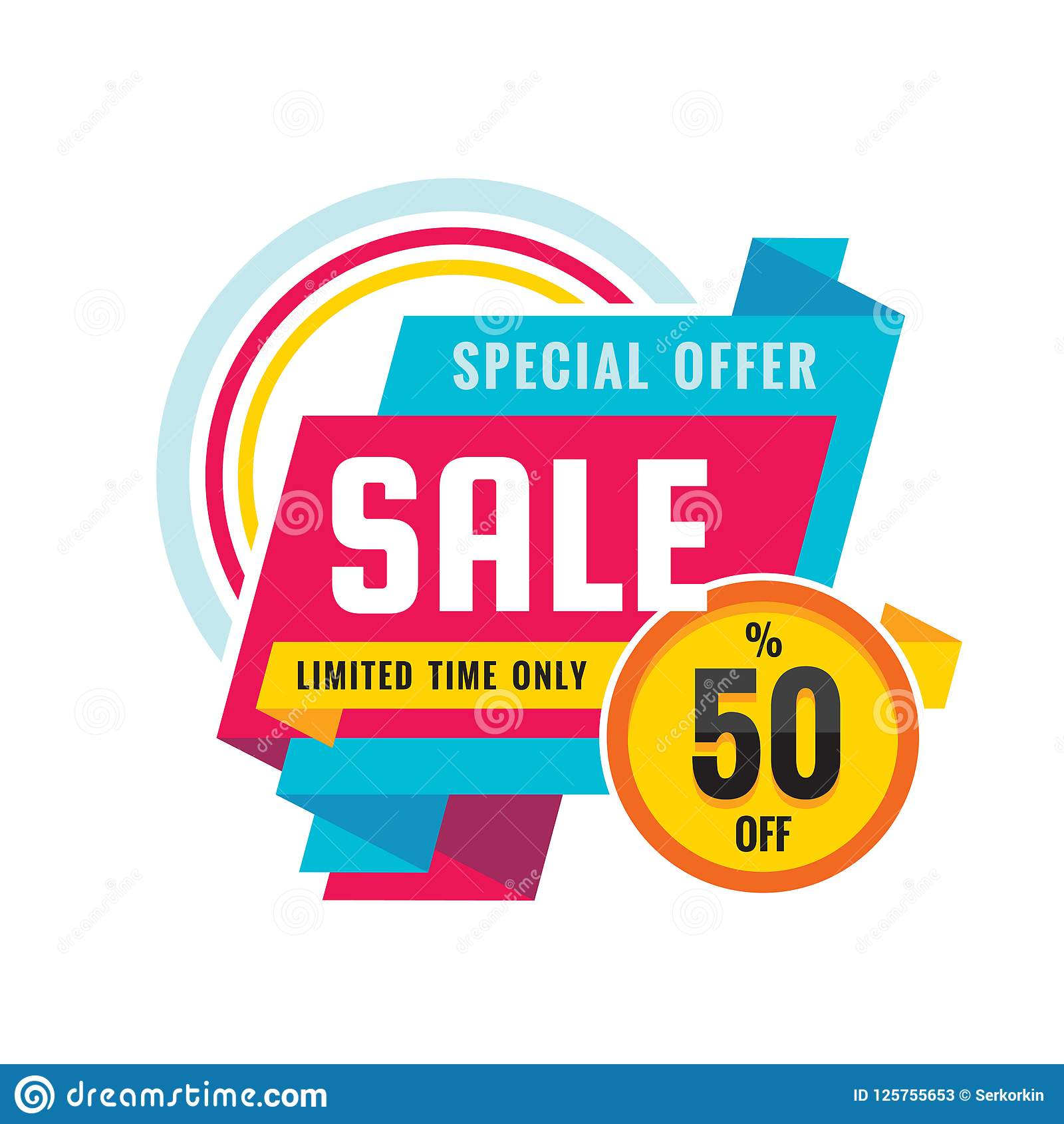 Sale - creative banner vector illustration. Abstract concept discount up to 50  promotion layout on white background.