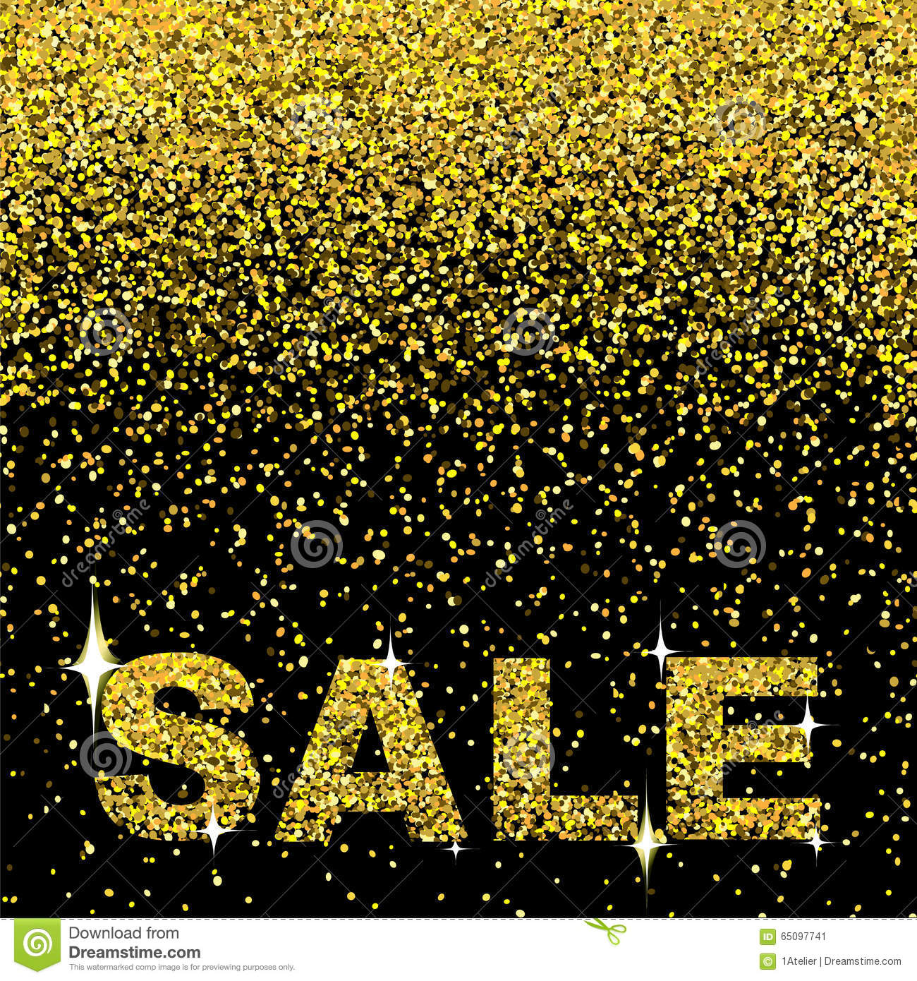 sale design with gold confetti background and gold sparks stock