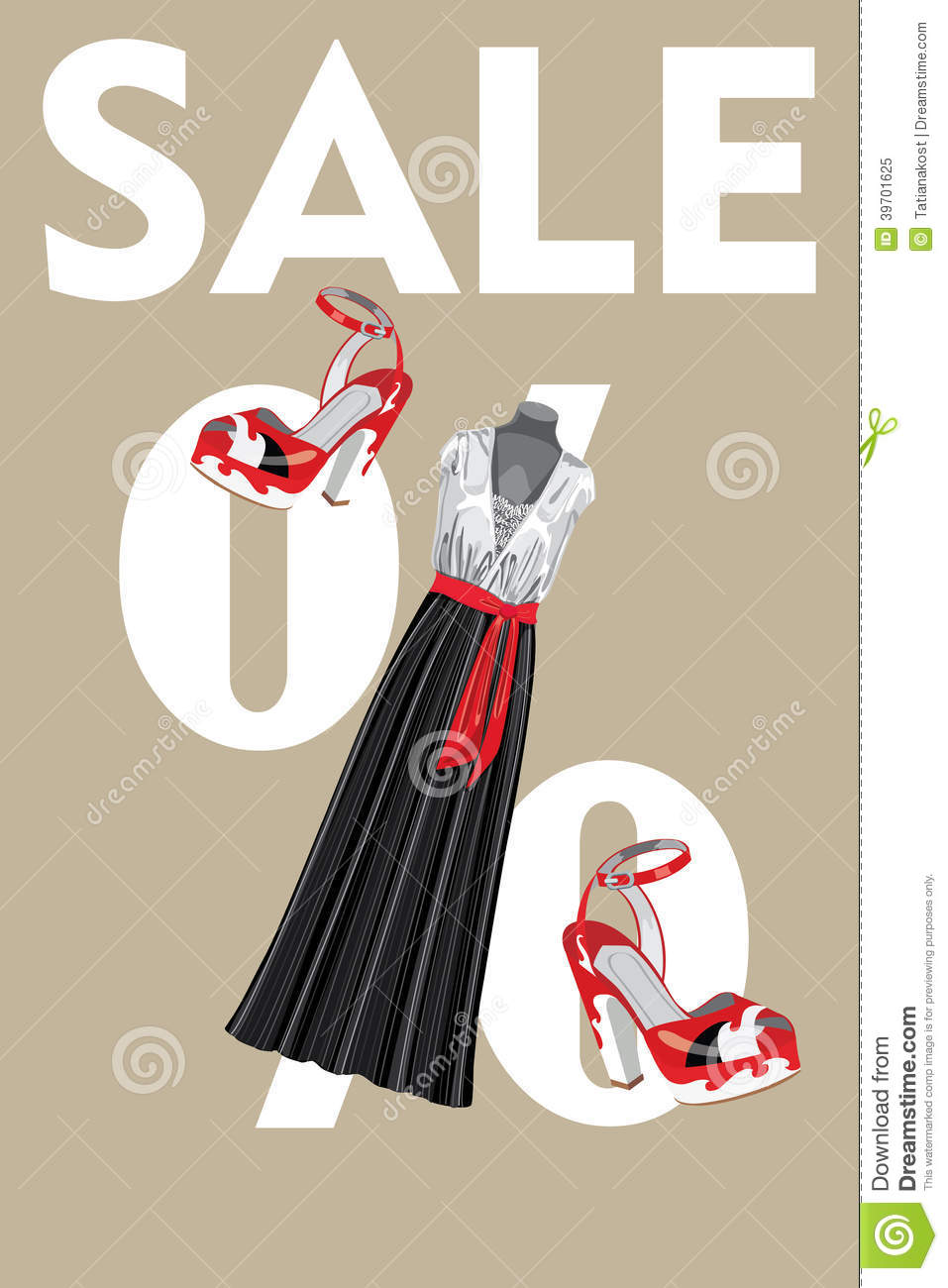 sale design template combined party dress and high stock vector