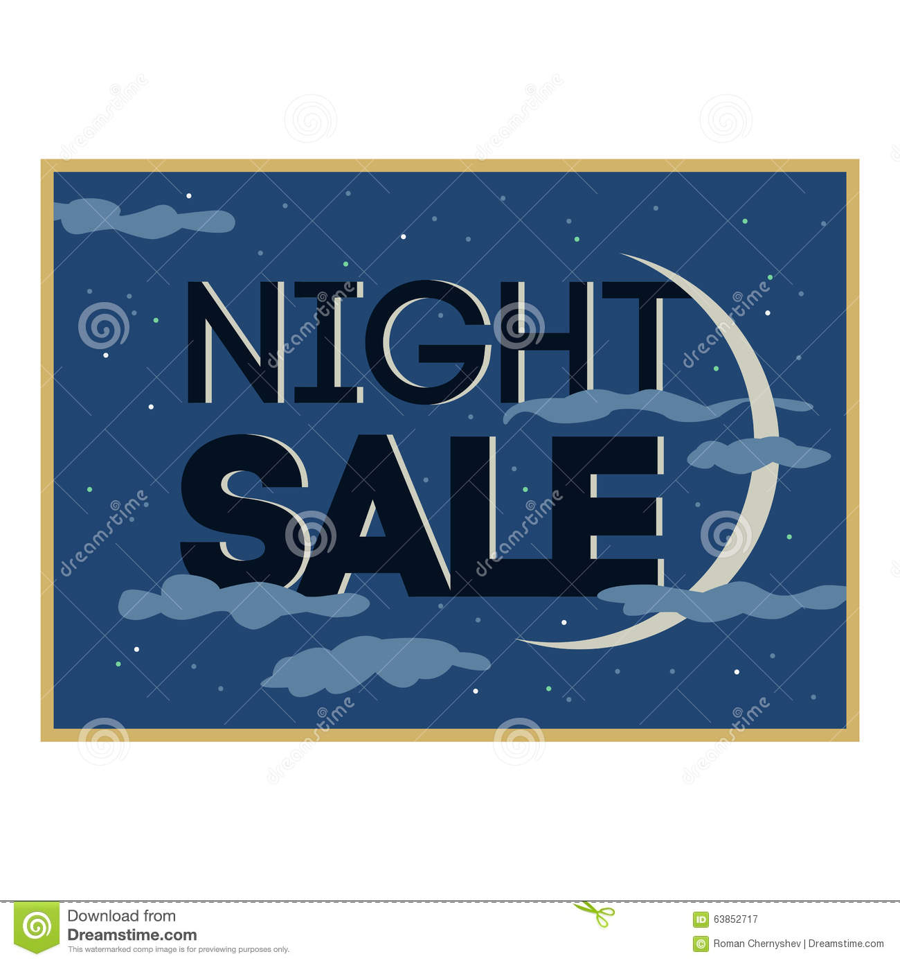 Sale and discount card, banner, flier. Black friday offer. Night sale title. New moon, planet with stars shining in cloudy sky