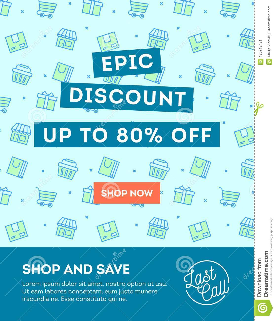 sale discount online shopping banner newsletter template stock