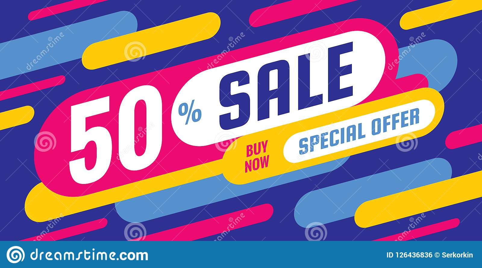 Sale discount up to 50  off - concept horizontal banner vector illustration. Special offer abstract layout. Graphic design poster.