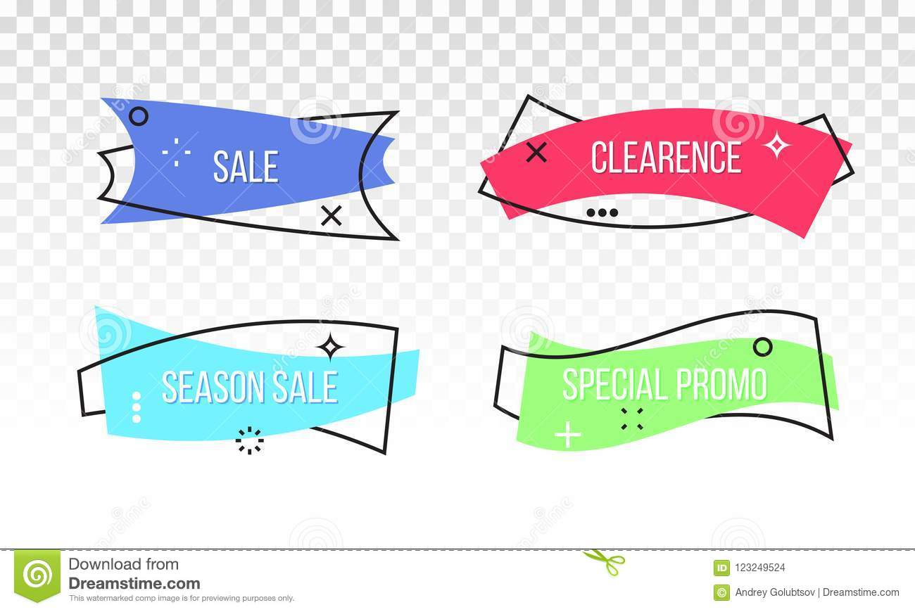 Sale discount vector promo banner tag ribbon
